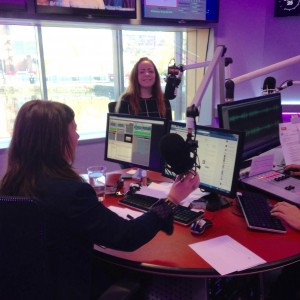 Fran being interviewed at the Key 103 studios